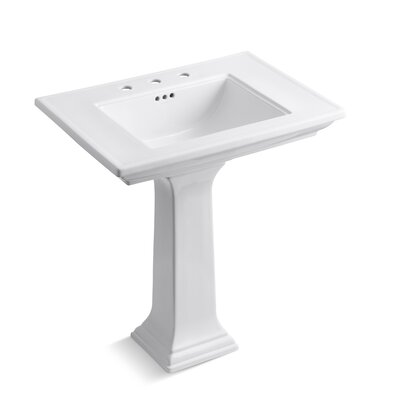 Memoirs� Ceramic 30 Pedestal Bathroom Sink with Overflow Finish: White, Faucet Hole Style: 8 Widespread