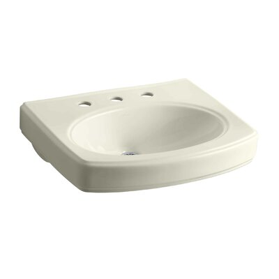 Pinoir Ceramic 30 Wall Mount Bathroom Sink with Overflow Finish: Almond