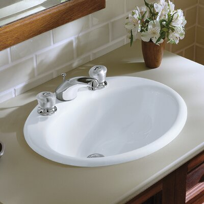 Farmington Metal Oval Drop-In Bathroom Sink with Overflow Finish: White