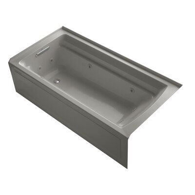 Archer 72 x 36 Alcove Whirlpool with Bask Heated Surface Finish: Biscuit, Drain Location: Right