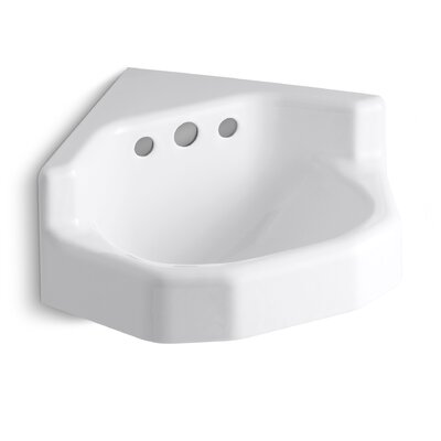 Marston Metal 23 Corner Bathroom Sink with Overflow Sink Finish: White