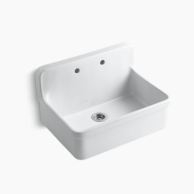 Gilford 30 x 22 x 9-1/2 Wall-Mount/Top-Mount Single-Bowl Kitchen Sink Finish: White