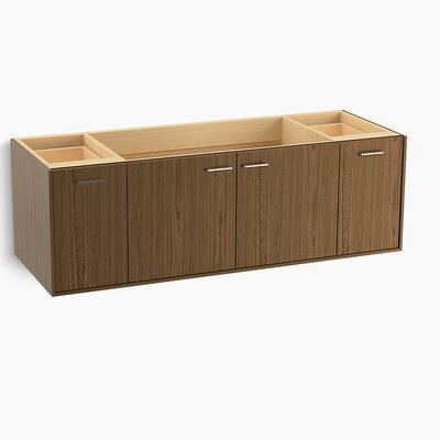 Jute 60 Vanity with 2 Doors and 2 Drawers, Split Top Drawer Finish: Walnut Flax