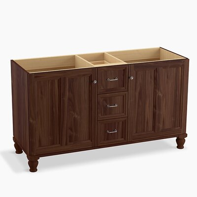 Damask 60 Vanity with Furniture Legs, 2 Doors and 3 Drawers, Split Top Drawer Finish: Terry Walnut