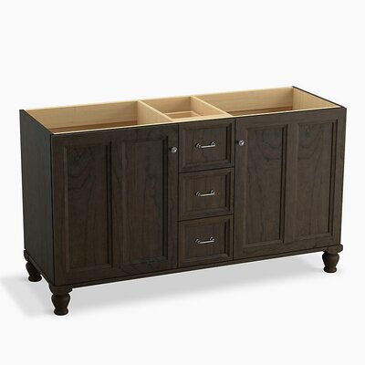 Damask� 60 Vanity with Furniture Legs, 2 Doors and 3 Drawers, Split Top Drawer Finish: Felt Grey
