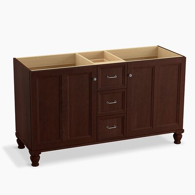 "Damask 60"" Vanity Base with Furniture Legs, 2 Doors and 3 Drawers, Split Top Drawer Finish: Cherry Tweed"