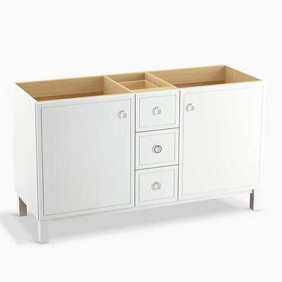 Jacquard 60 Vanity Base with Furniture Legs, 2 Doors and 3 Drawers Finish: Linen White