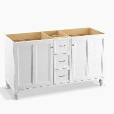Damask 60 Vanity with Furniture Legs, 2 Doors and 3 Drawers, Split Top Drawer Finish: Linen White