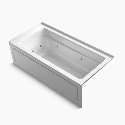Archer Integral Apron Whirlpool with Tile Flange, Right-Hand Drain and Heater Finish: White