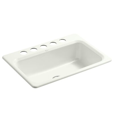 Bakersfield 31 x 22 x 8-5/8 Under-Mount Single-Bowl Kitchen Sink with 5 Faucet Holes Finish: Dune