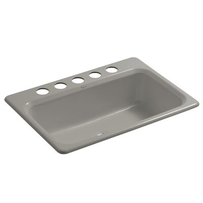 Bakersfield 31 x 22 x 8-5/8 Under-Mount Single-Bowl Kitchen Sink with 5 Faucet Holes Finish: Cashmere