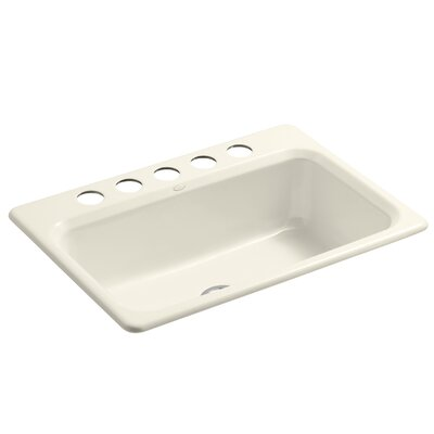 Bakersfield 31 x 22 x 8-5/8 Under-Mount Single-Bowl Kitchen Sink with 5 Faucet Holes Finish: Almond