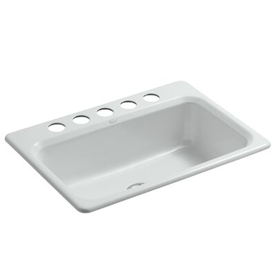 Bakersfield 31 x 22 x 8-5/8 Under-Mount Single-Bowl Kitchen Sink with 5 Faucet Holes Finish: Ice Grey