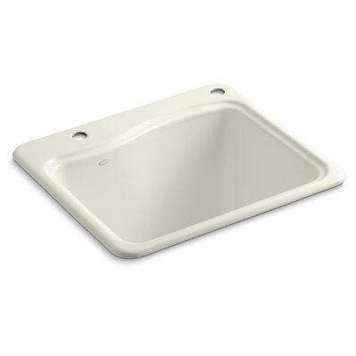 River Falls Top-Mount Utility Sink with 2 Faucet Holes - One-Hole On Deck On The Left and Right-Hand Accessory Hole Finish: Biscuit