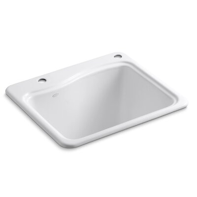 River Falls Top-Mount Utility Sink with 2 Faucet Holes - One-Hole On Deck On The Left and Right-Hand Accessory Hole Finish: White