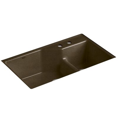 Indio 33 x 21-1/8 x 9-3/4 Under-Mount Smart Divide Large/Small Double-Bowl Kitchen Sink Finish: Black n Tan, Faucet Drillings: 2 Hole