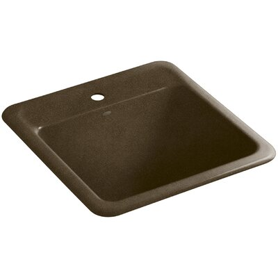 Park Falls Top-Mount/Undermount Utility Sink with Single Faucet Hole Finish: Black n Tan