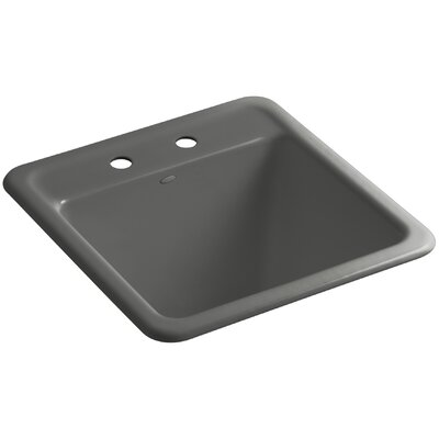 Park Falls Top-Mount/Undermount Utility Sink with Two Faucet Holes Finish: Thunder Grey
