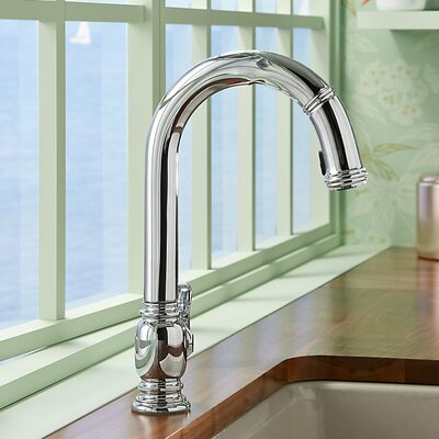 Beckon (TM) Touchless Pull-Down Kitchen Sink Faucet Finish: Polished Chrome