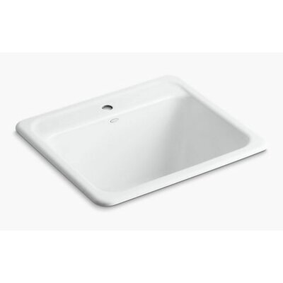 Glen Falls Top-Mount/Undermount Utility Sink with Single Faucet Hole Finish: White