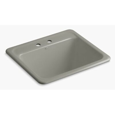 Glen Falls Top-Mount/Undermount Utility Sink with Two Faucet Holes Finish: Cashmere