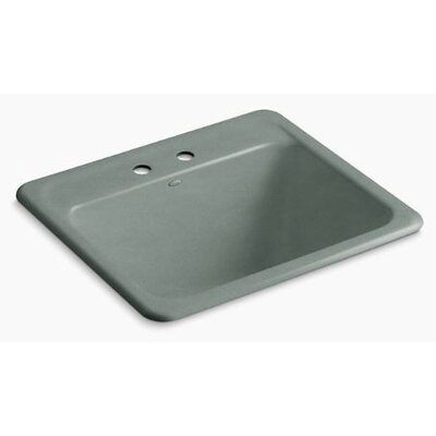Glen Falls Top-Mount/Undermount Utility Sink with Two Faucet Holes Finish: Basalt