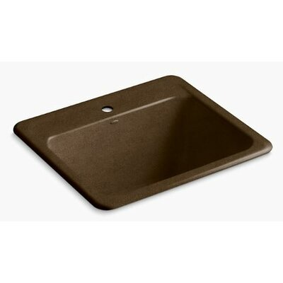 Glen Falls Top-Mount/Undermount Utility Sink with Single Faucet Hole Finish: Black n Tan