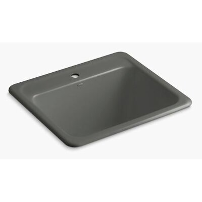 Glen Falls Top-Mount/Undermount Utility Sink with Single Faucet Hole Finish: Thunder Grey