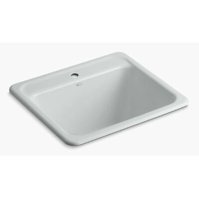 Glen Falls Top-Mount/Undermount Utility Sink with Single Faucet Hole Finish: Ice Grey