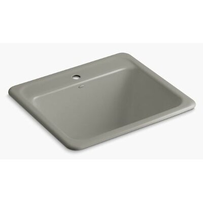 Glen Falls Top-Mount/Undermount Utility Sink with Single Faucet Hole Finish: Cashmere