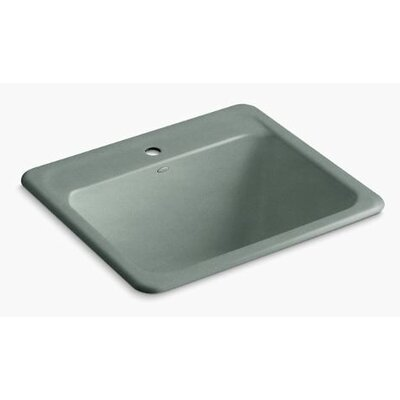 Glen Falls Top-Mount/Undermount Utility Sink with Single Faucet Hole Finish: Basalt