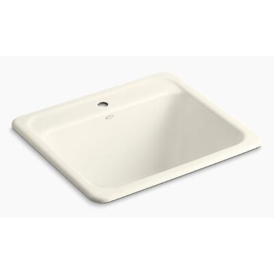 Glen Falls Top-Mount/Undermount Utility Sink with Single Faucet Hole Finish: Biscuit