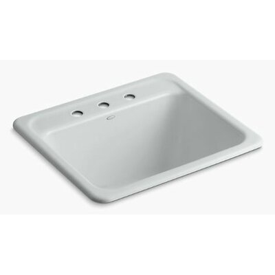 Glen Falls Top-Mount/Undermount Utility Sink with Three Faucet Holes Finish: Ice Grey