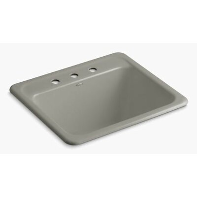 Glen Falls Top-Mount/Undermount Utility Sink with Three Faucet Holes Finish: Cashmere