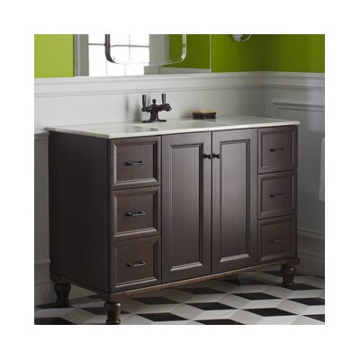 Damask Works 48 Vanity with Furniture Legs, 2 Doors and 6 Drawers Finish: Cherry Tweed