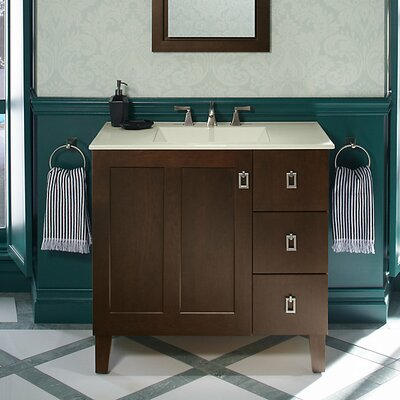 Poplin� 36 Vanity with Furniture Legs, 1 Door and 3 Drawers on Right Base Finish: Cherry Tweed