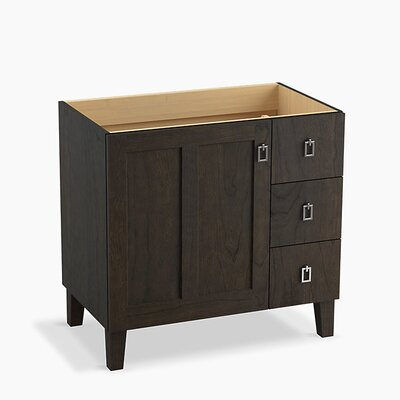 Poplin� 36 Vanity with Furniture Legs, 1 Door and 3 Drawers on Right Base Finish: Felt Gray