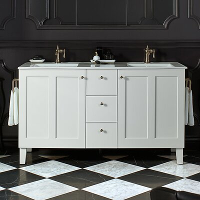 Poplin 60 Vanity with Furniture Legs, 2 Doors and 3 Drawers, Split Top Drawer Finish: Linen White