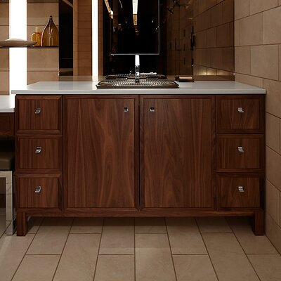 "Jacquard 60"" Vanity Base with Furniture Legs, 2 Doors and 6 Drawers, Split Top Drawers Finish: Terry Walnut"