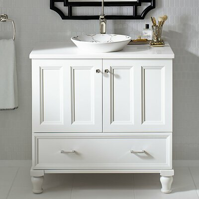Damask Plains 36 Vanity with Furniture Legs, 2 Doors and 1 Drawer Finish: Linen White