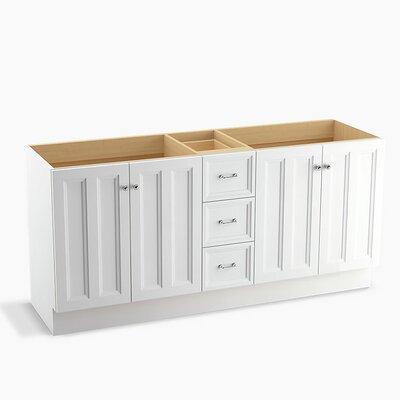 Damask� 72 Vanity with Toe Kick, 4 Doors and 3 Drawers, Split Top Drawer Finish: Linen White
