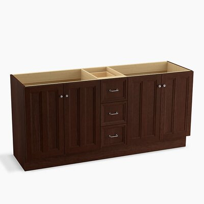 "Damask 72"" Vanity Base with Toe Kick, 4 Doors and 3 Drawers, Split Top Drawer Finish: Cherry Tweed"