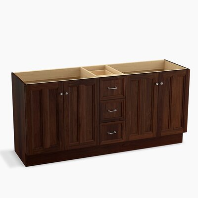 Damask 72 Vanity with Toe Kick, 4 Doors and 3 Drawers, Split Top Drawer Finish: Ramie Walnut