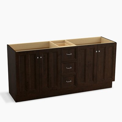 Damask� 72 Vanity with Toe Kick, 4 Doors and 3 Drawers, Split Top Drawer Finish: Claret Suede