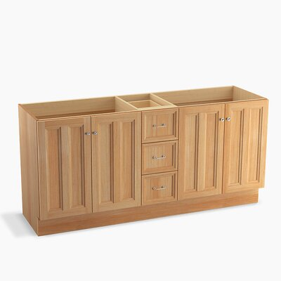 Damask 72 Vanity with Toe Kick, 4 Doors and 3 Drawers, Split Top Drawer Finish: Khaki White Oak