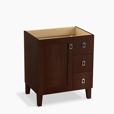 Poplin Tones 30 Vanity with Furniture Legs, 1 Door and 3 Drawers on Right Base Finish: Cherry Tweed