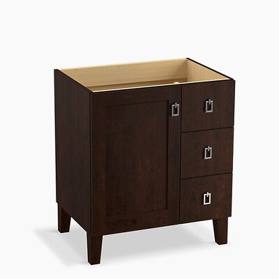 Poplin Tones 30 Vanity with Furniture Legs, 1 Door and 3 Drawers on Right Base Finish: Claret Suede