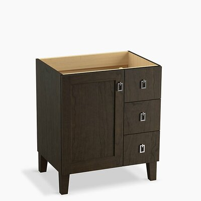 Poplin Tones 30 Vanity with Furniture Legs, 1 Door and 3 Drawers on Right Base Finish: Felt Gray