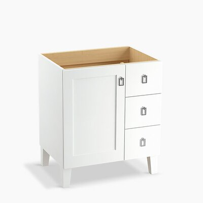 Poplin Tones 30 Vanity with Furniture Legs, 1 Door and 3 Drawers on Right Base Finish: Linen White