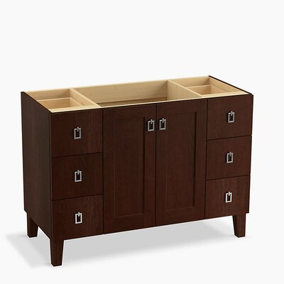 Poplin� 48 Vanity with Furniture Legs, 2 Doors and 6 Drawers Base Finish: Cherry Tweed